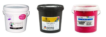 samples of buckets of ink used in the screen printing process